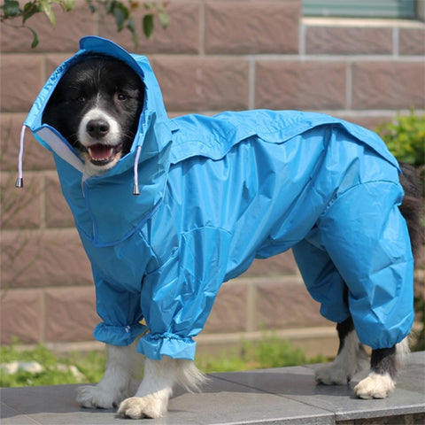 Image of Large Dog Raincoat Clothes Waterproof Rain Jumpsuit For Big Dogs