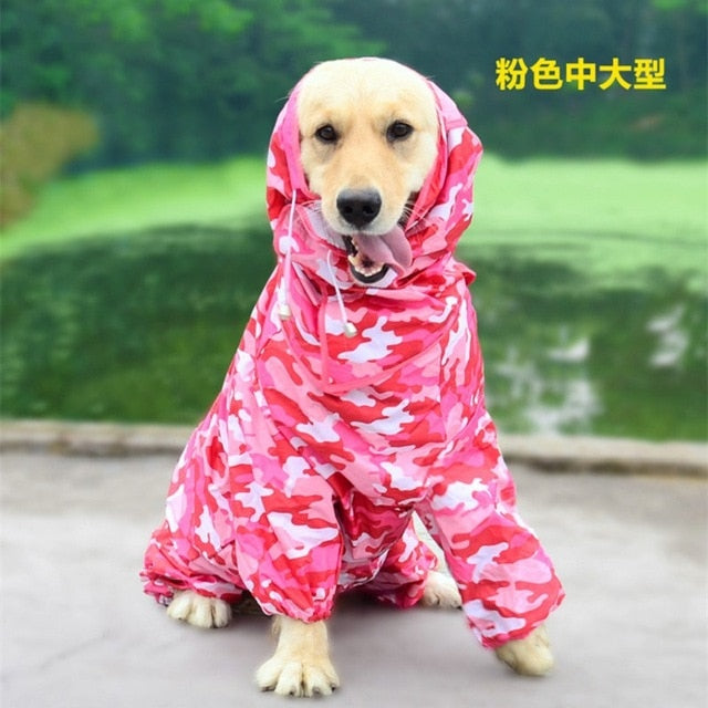 Large Dog Raincoat Clothes Waterproof Rain Jumpsuit For Big Dogs -  Sport Pet Shop