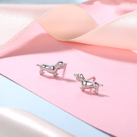 Image of Silver Stud Earrings Dachshund Love -  Sport Pet Shop