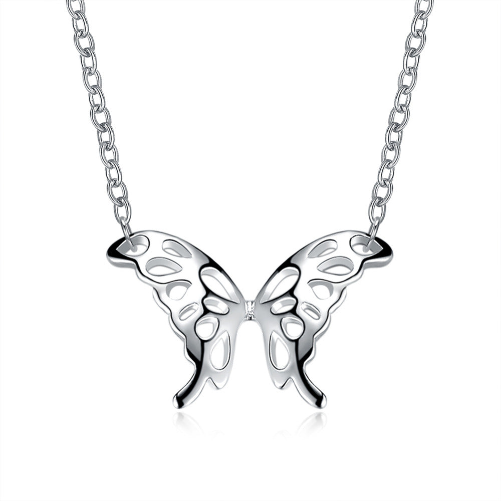 925 sterling silver jewelry loverly hollow butterfly pendant -  Sport Pet Shop