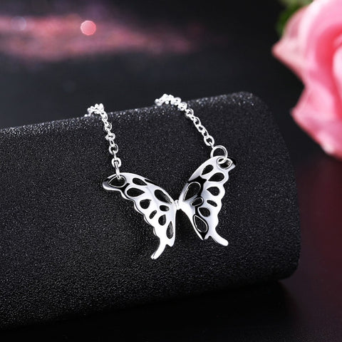Image of 925 sterling silver jewelry loverly hollow butterfly pendant -  Sport Pet Shop