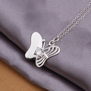 fine fashion sweet Butterfly with crystal stone necklace