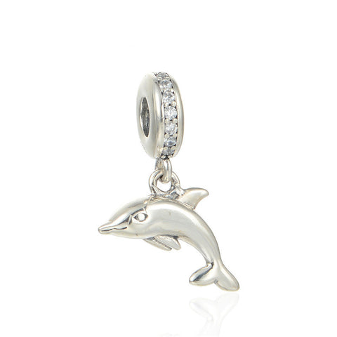 Dolphin With CZ Stones Animal Bead