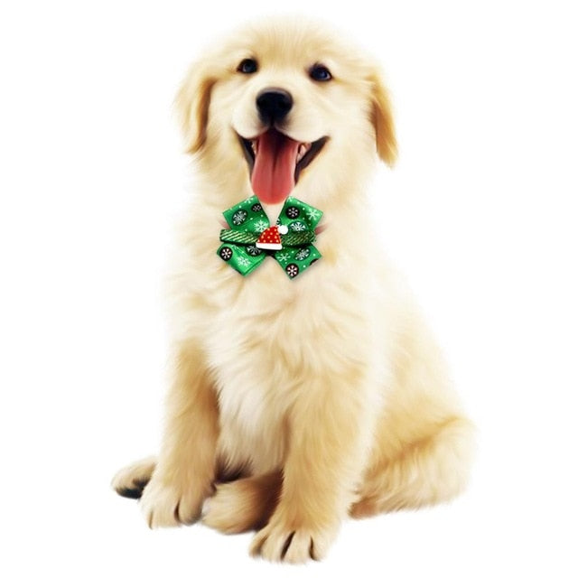 New Christmas Dog Bow Ties Collar With Bell -  Sport Pet Shop