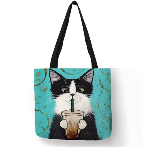 Image of Personalized Kitty Cat Tote Bag For Women /  Linen Shopping Bag -  Sport Pet Shop