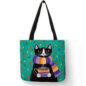 Personalized Kitty Cat Tote Bag For Women /  Linen Shopping Bag -  Sport Pet Shop