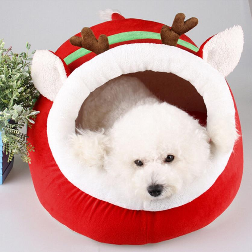 Cute Christmas Red Reindeer Dog/ Cat Bed Cushion Puppy House -  Sport Pet Shop