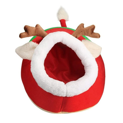 Image of Cute Christmas Red Reindeer Dog/ Cat Bed Cushion Puppy House -  Sport Pet Shop