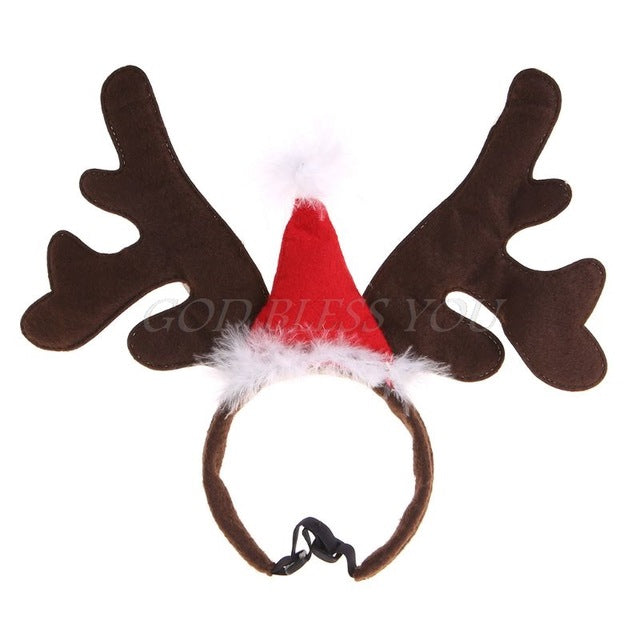Christmas Pet Headband Deer Horn Hat -  Sport Pet Shop