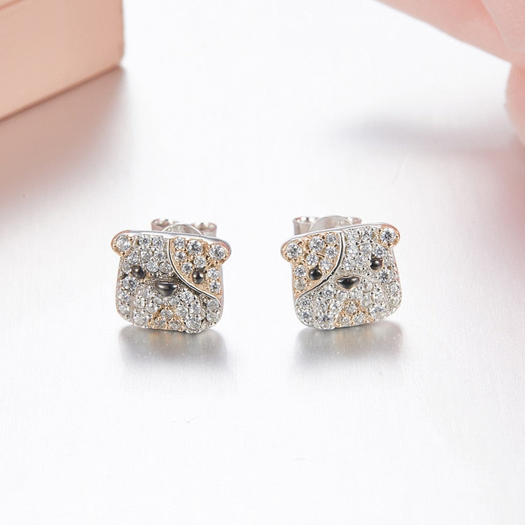 Cute Dog Design Earrings Pure 925 sterling silver /Zircons -  Sport Pet Shop