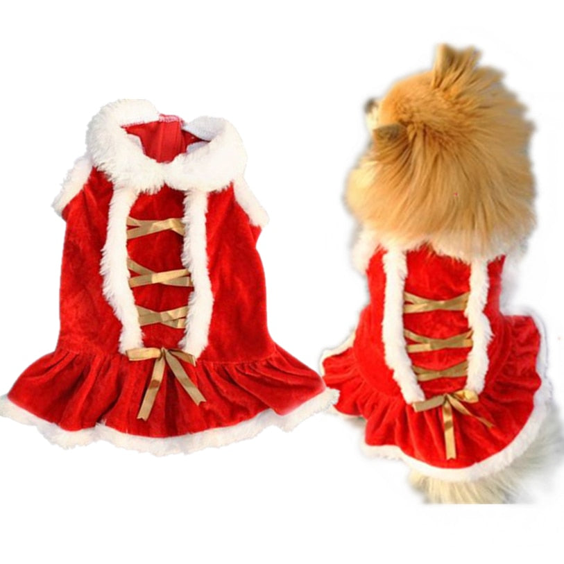 Autumn/Winter Dog Dresses Christmas Ribbon -  Sport Pet Shop