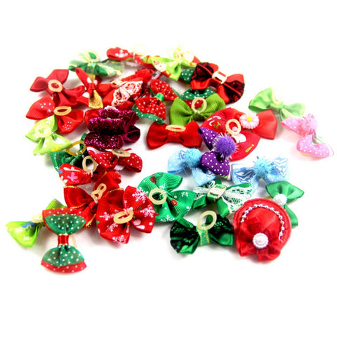 Image of 10 Pcs /Pet Christmas Bow Knot Headdress with Rubber Bands -  Sport Pet Shop