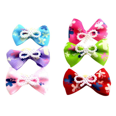 10 Pcs /Pet Christmas Bow Knot Headdress with Rubber Bands