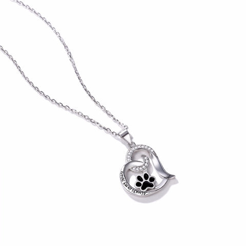 Image of Pet Footprint in My Heart Necklace For Women / Authentic 925 Sterling Silver -  Sport Pet Shop