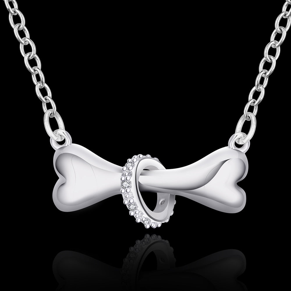 silver plated necklace dog bone jewelry -  Sport Pet Shop