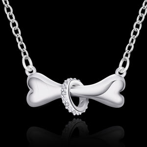 silver plated necklace dog bone jewelry