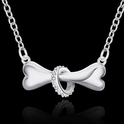 Image of silver plated necklace dog bone jewelry -  Sport Pet Shop
