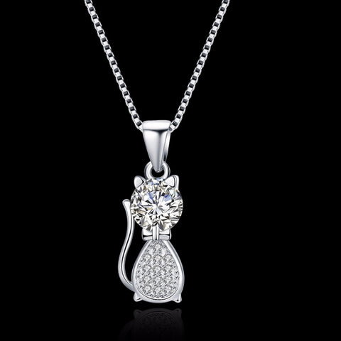 Silver Cute Cat Chain Pendant Necklace