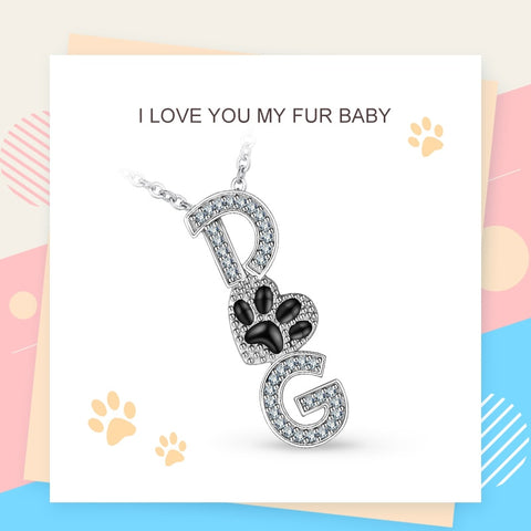 925 Sterling Silver Zircon Dog Pendant Necklaces for Women