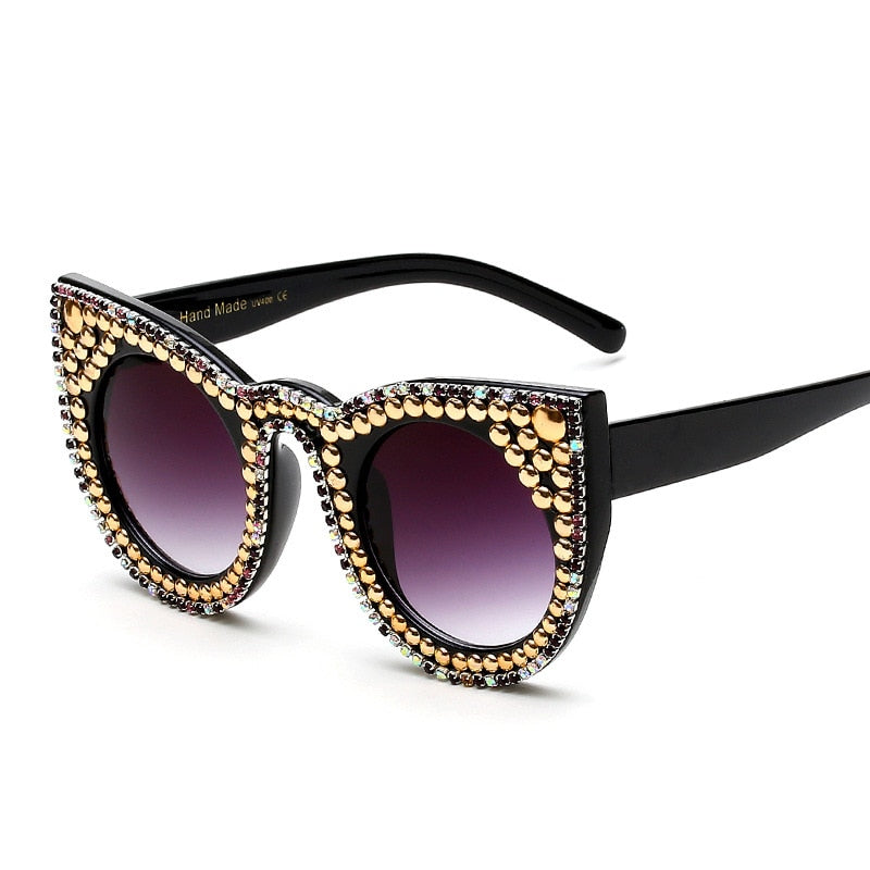 Vintage Women Pearl Sunglasses / Sexy Cat Eye