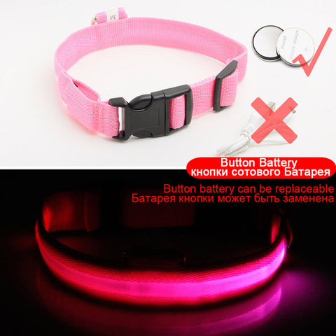 Glowing LED Dog Collar /Anti-Lost Nylon Light Collar For Dogs