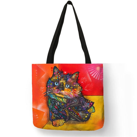 Image of Colorful Cat Oil Painting Tote Bag / Reusable Shopping Bag -  Sport Pet Shop