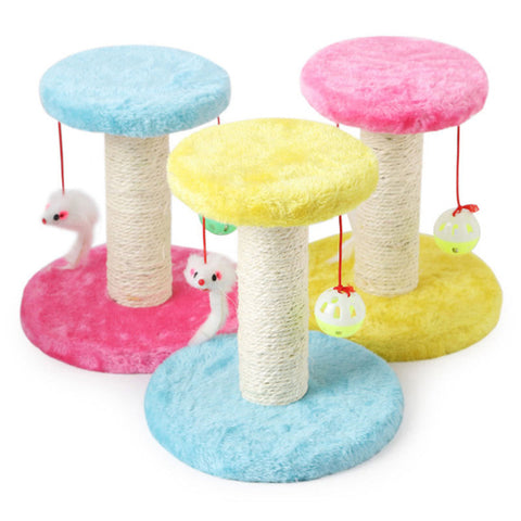 Funny Plush Cat Scratcher Tree  / Toy Mouse Scratching Post Climbing
