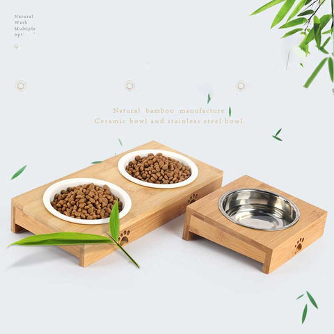 Image of Ceramic Cat Bowl Bamboo Rack /  Double Bowl Automatic Drinking -  Sport Pet Shop