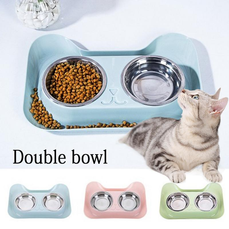Cats Bowl Double Stainless Steel / Non-slip Design, Food / Water -  Sport Pet Shop