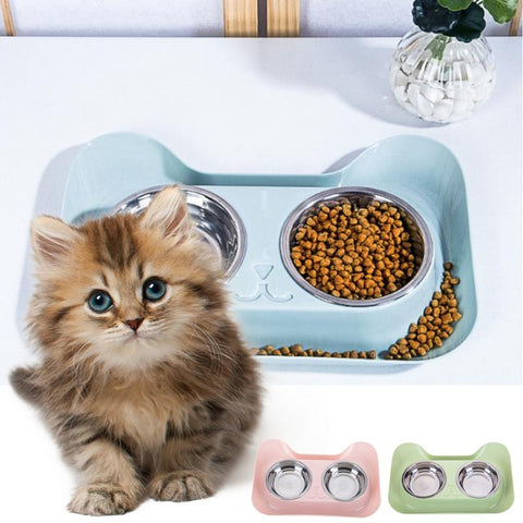 Image of Cats Bowl Double Stainless Steel / Non-slip Design, Food / Water -  Sport Pet Shop