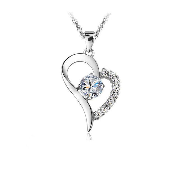 925 Sterling Silver Cubic Zircon Heart Pendant Necklace