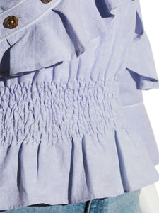 Open shoulder frilled blouse (SWFB192056)