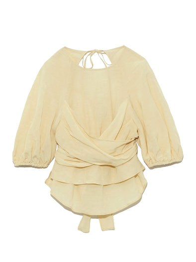 Open-Back Puff Sleeve Blouse