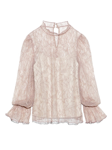 Lace Blouse with Frill Sleeves
