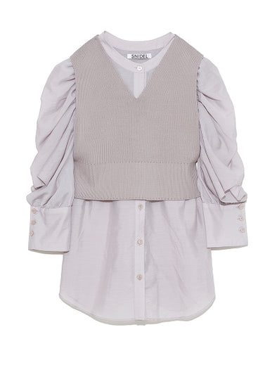 Knit Vest with Frilled Blouse