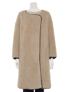 Collarless Boa Coat