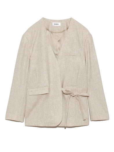 Collarless Wrap Blazer