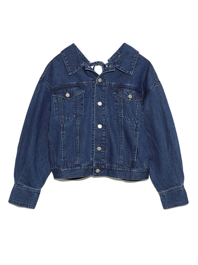 Denim Jacket with Ribboned Back Slit
