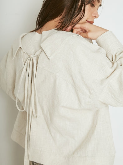 Linen Jacket with Ribboned Back Slit