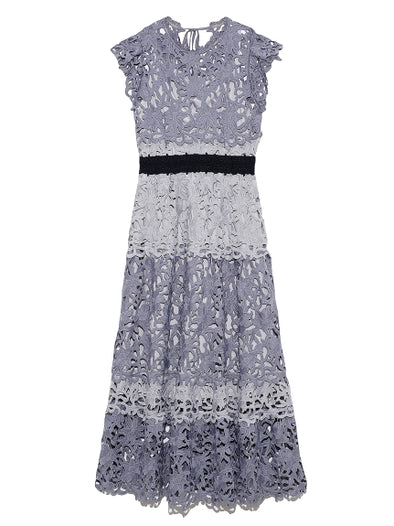 Color Block Lace Midi Dress