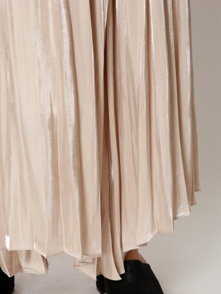 Shiny Pleated Skirt