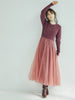 Knit Sweater with Tulle Skirt