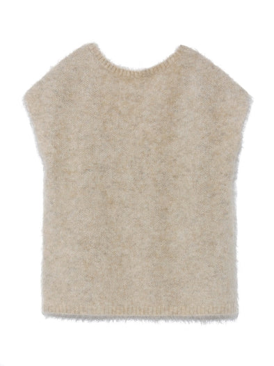 Mohair Non-sleeves Knit Pullover