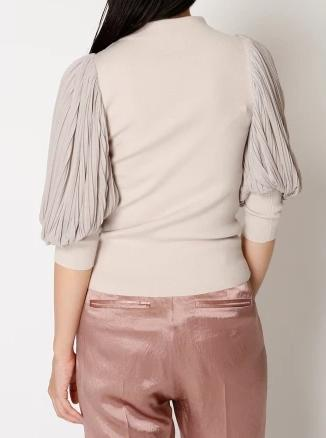 Knit pullover with sheer sleeves
