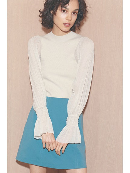 Sheer-Sleeves Knit Pullover