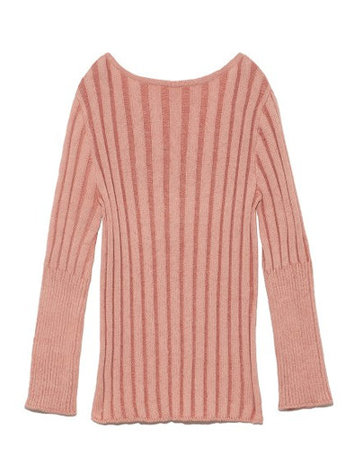 Flare Sleeve Rib-Knit Pullover