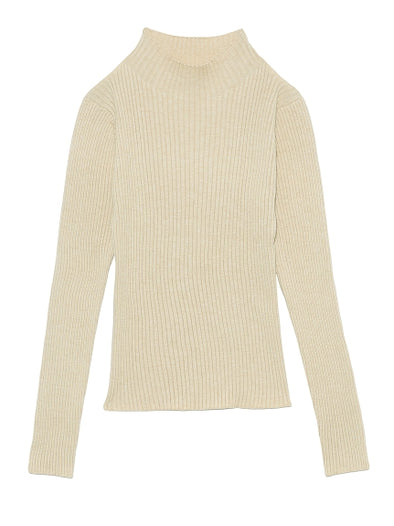 High Neck Rib Knit Sweater