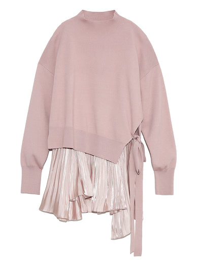 Pleated Layered Knit Pullover