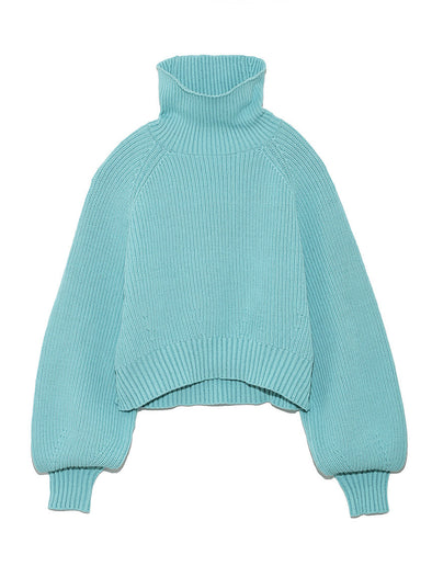 Cropped Turtle Rib Knit Pullover