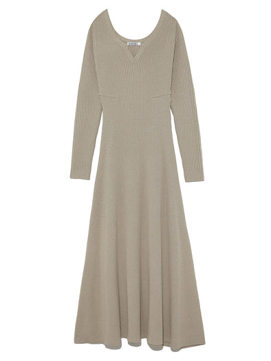 Wide Open Neck Long Knit Dress